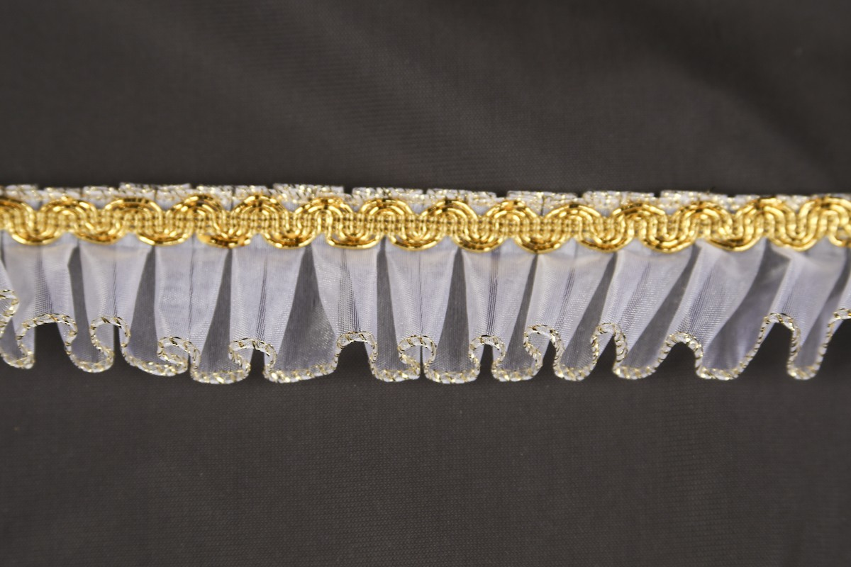 Pleated organdy and braid #2289M/Gold